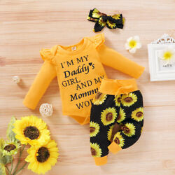 Kyпить Newborn Baby Girl Clothes Letter Romper Jumpsuit Tops+Pants+ Headband Outfit Set на еВаy.соm