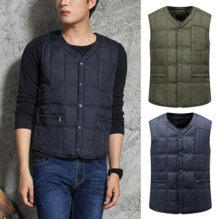 img-Mens Duck Down Quilted Waistcoat Gilet Padded Puffer Bubble Vest Jacket Warm hot