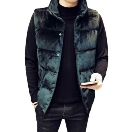 img-Winter Men's Pleuche Vest Quilted Sleeveless Jacket Padded Stand Collar Warm D