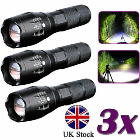 img-UK Police 90000LM T6 LED Ultra Bright Zoomable Flashlight Camping Lamp Torch Lot