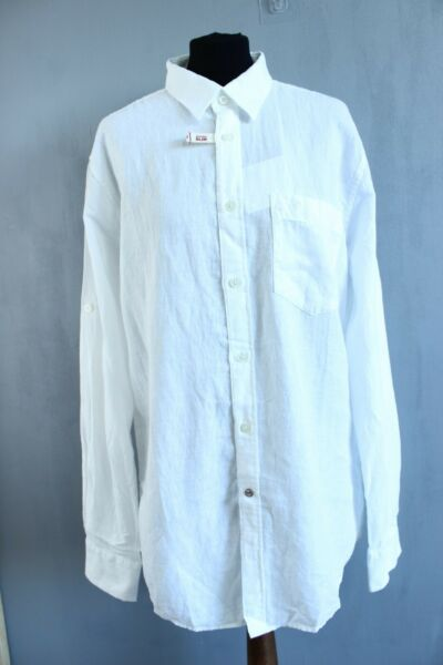 LituanieMustang BNWT Blanc Classique Col Manches Longues Slim Fit Lin Chemise Taille L
