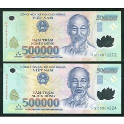 Kyпить 1 Million Vietnam Dong currency = 2 x 500000 500,000 dong , Used condition на еВаy.соm