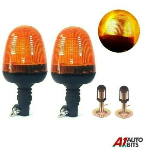 Royaume-Uni2x Clignotant Warning Ambre Lumières LED & Support Tracteur  Véhicule #F