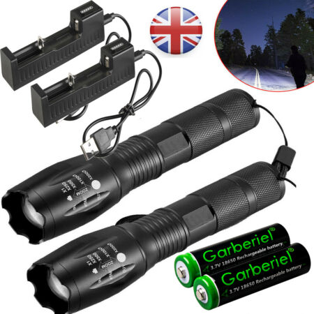 img-2 Pack LED T6 Torch Flashlight Police Tactical Zoom Camping Lamp+18650 &Charger