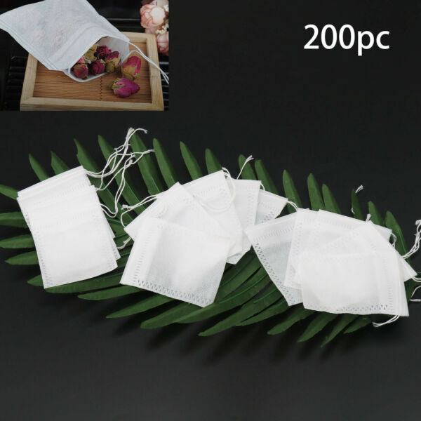 Royaume-UniWhite Non-woven Empty Teabag Filter Paper Herb Loose Tea String Seal Bag 200X