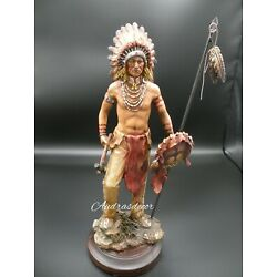 Kyпить Native American Indian Chief ( Final Battle ) Hand-Painted Resin Statue 13