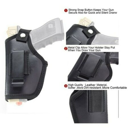 img-Pistol Hand Gun Holster Concealed Carry Case Clip Belt for Right and Left Hand