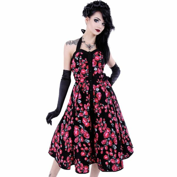 Royaume-UniRestyle - Roses Robe - Dos Nu - Sang, Roses, , Pin-Up, 50's Mode