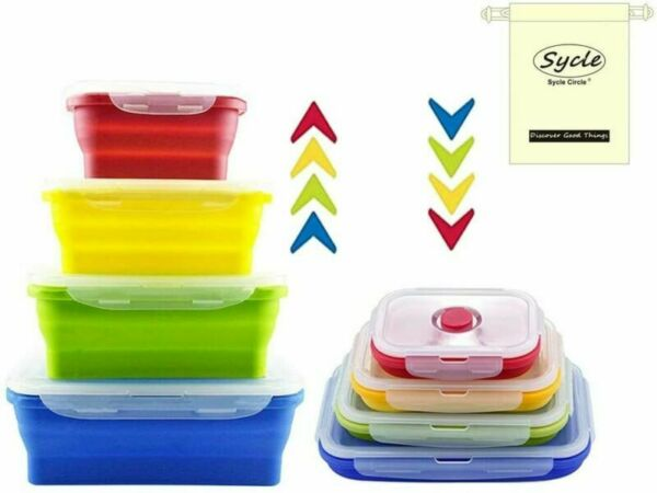 France4 Pcs Récipients Alimentaires en Silicone Ensemble de 4 Pack, Rectangulaires