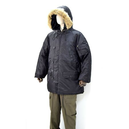 img-US Army N-3B EXTREME COLD WEATHER Parka Jacket Black Fur Hood Flight Winter ECW