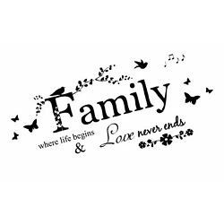 Blinggo Family Letter Quote Removable Vinyl Decal Art Mural Home Decor Wall S...