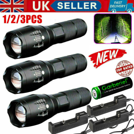 img-90000LM T6 LED Torch Rechargeable Flashlight Police Tactical Zoom Camping Lamp