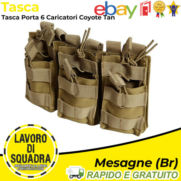 ItaliePoche Triple Porte- Chargeurs 6 Places Softair Airsoft  Ressorts Tan