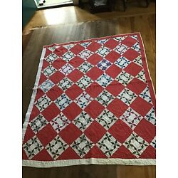 Kyпить Vintage Feedsack Cotton Hand Quilted DoTs!  Quilt Red Star на еВаy.соm