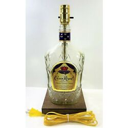 CROWN ROYAL Whiskey Large 1.75L Liquor Bottle TABLE LAMP Light with Wood Base