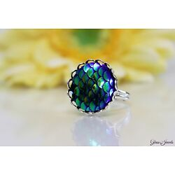 Glass Jewellery Silver Ring Mermaid Sequins Fantasy Adjustable Size 52-56 #R023