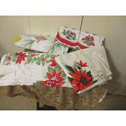 Kyпить Lot Of 4 Vintage Christmas Printed Tablecloths - POINTSETTIA'S/HOLLY/BELLS ETC на еВаy.соm