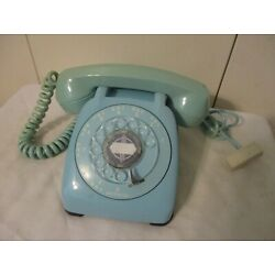 Kyпить Vintage Blue Automatic Electric Rotary Dial Desk Phone Nice, Works! на еВаy.соm