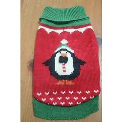 PENGUIN small dog SWEATER NWT red green World Market NEW knit crochet S CUTE pet