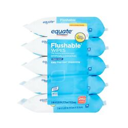 Kyпить Equate Flushable Wipes, 5 packs of 48 wipes, 240wipes total Fresh Scent на еВаy.соm
