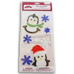 Penguins with Snowflakes Window Gel Sticker Clings Party winter classroom decor