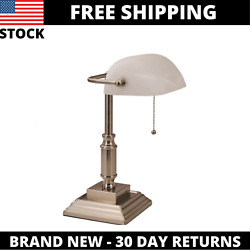 Kyпить V-LIGHT Traditional Style CFL Bankers Desk Lamp with White Glass Shade на еВаy.соm