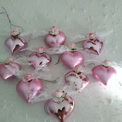 Kyпить  10 Shabby Chic PINK HEART  ORNAMENTS Roses Lace  VALENTINE Decor Feather Tree на еВаy.соm