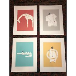 Kyпить Set of 4 Safari Animal Nursery Prints - Elephant, Giraffe, Lion, Crocodile на еВаy.соm