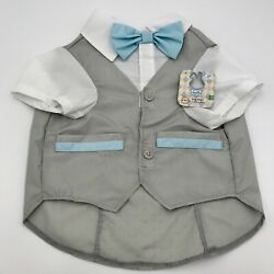 Bond & Co Boy Dog Clothes Vest Bow Tie Shirt Outfit Recycled Material Sz L NWT