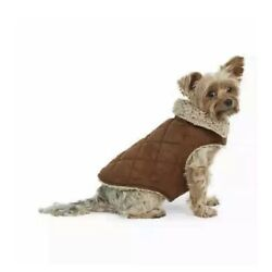 Bee & Willow Medium Dog Coat Jacket Sherpa Faux Suede Lined Brown  XL