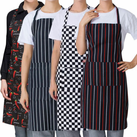 img-Women Men Bib Apron Butcher Apron Pocket Halter Neck Cooking Catering Apron Home