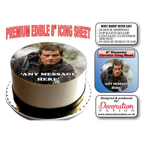 img-Bear Grylls Outdoors PERSONALISED 8 INCH ICING Edible Cake Topper Birthday