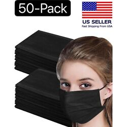 Kyпить 50 Pcs Black 3-Ply Face Mask Disposable Non Medical Surgical Earloop Mouth Cover на еВаy.соm
