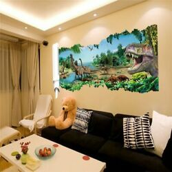 3D DINOSAURS WORLD PARK WALL STICKERS FOR KIDS ROOM HOME DECOR BOY ANIMAL NEW