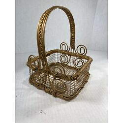 Golden Wire Basket Easter Decoration Country Kitchen