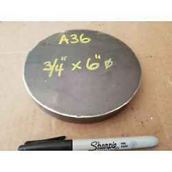 Steel Plate Round Disc,  6'' diameter x 3/4'' thick, A36,   Lathe Stock