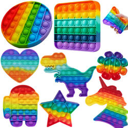 Kyпить Rainbow Push Bubble Sensory Fidget Toy Silicone Anxiety Stress Relief Autism US на еВаy.соm