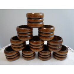 Kyпить Vintage 10 Wooden Napkin Rings holder brown ribbed/grooved  retro mid - century на еВаy.соm