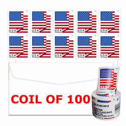 Kyпить 100 USPS US Flag 2018 Forever Postage Stamps - 1 Coils - FREE SHIPPING! SEALED на еВаy.соm