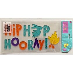 Easter  Bunny Hip Hop Hooray  Window Gel Sticker Cling Decorations chick