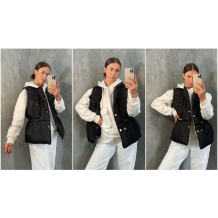 img-Womens Quilted Zip Up Puffer Gilet Waistcoat Padded Winter Vest Long Bodywarmer