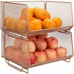 MyGift Set of 2 Stacking Copper Metal Wire Mesh Fruit and Produce Basket Rack