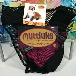 New MUTTLUKS Fleece Lined Dog Boots Shoes Leather Soles Waterproof Warm XXL Pink