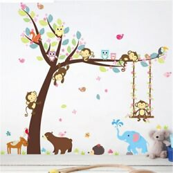 Forest Animal Tree Wall Stickers for Kids Room Monkey Bear Jungle Wild Children
