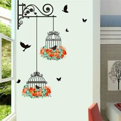 Colorful Flower Birdcage Wall Sticker Decals Flying Birds Plants Adhesive