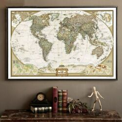 Large Vintage World Map Detailed Antique Poster Wall Chart Office Wall Sticker