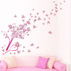 Wall Sticker Flying Pink Buttrfly Flying Flower Blossom Pencil Tree Removable