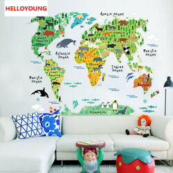 Wall Stickers Removable Vinyl Animal World Map  for Kids Room Waterproof