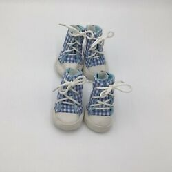 East Side Collection GINGHAM Dog High Top Tennis Shoes Boots