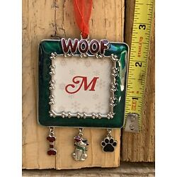 """Kyпить Green Enameled Christmas Ornament PHOTO FRAME For Dog """"WOOF"""" Fit 1-1/2"""" Photo на еВаy.соm"""